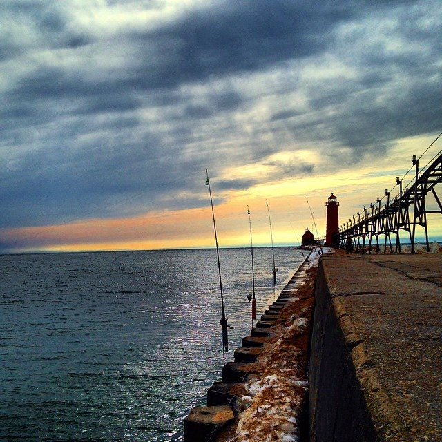 Spring Fishing Along the Grand Haven Pier. Photo Credit: Instagramer @jeffreywilk