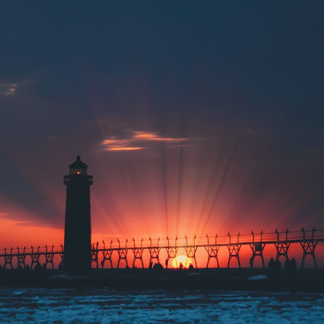 Grand Haven Sunset April 2015. Photo credit: Instagramer @seoung