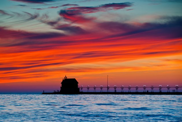 Grand Haven Michigan Sunset - Photo Bob Peskorse